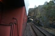 Linjebild straxt före gamla Tullinge station