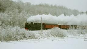 Snöigt landskap i Tumba 2016